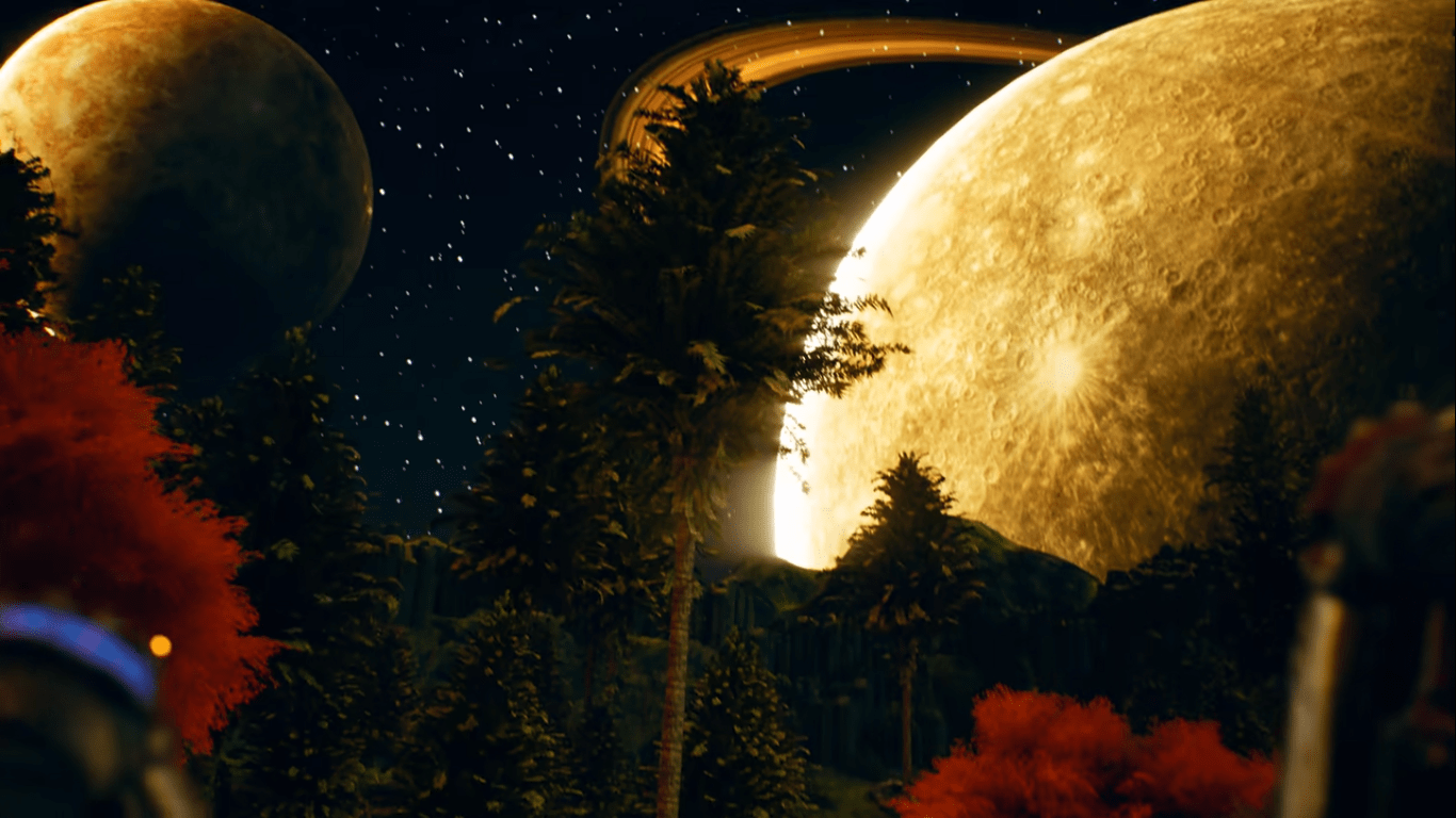 Large Moon and Tress